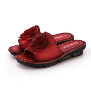 时尚女士凉拖鞋潮流玫瑰花凉鞋坡跟