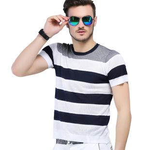 015夏男士桑蚕丝条纹短袖T恤 高档男t恤 休闲品牌男装 一件代发