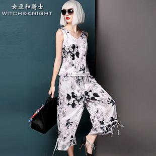 2015夏季新品套装 欧美大牌印花V领上衣+七分裤大脚时尚两件套装