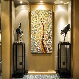 半手绘发财树 玄关装饰画欧式玄关过道客厅画 挂画壁画h-8888