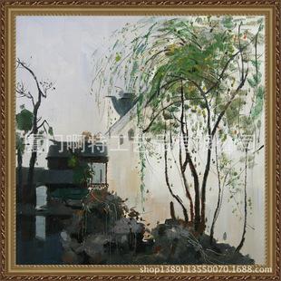 中式客厅玄关装饰画 吴冠中名画临摹