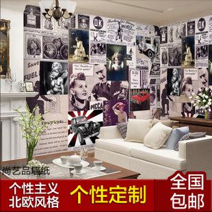 沙发背景墙壁纸壁画 欧式做旧怀古墙纸无纺布壁纸画