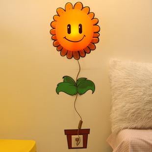 3d卡通diy创意墙贴墙纸壁灯塑料床头插电卧室欧式