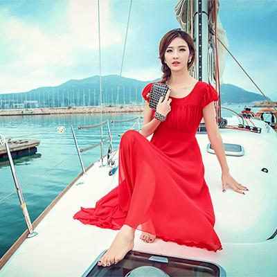 纽曼之城女装-红色雪纺连衣裙