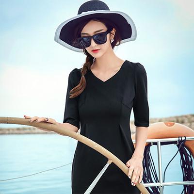 纽曼之城女装-黑色雪纺连衣裙