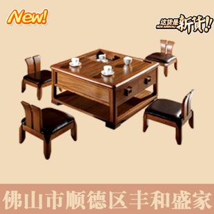 佛山丰和盛家家具 豪华欧式创意板木结合乌金实木桌椅