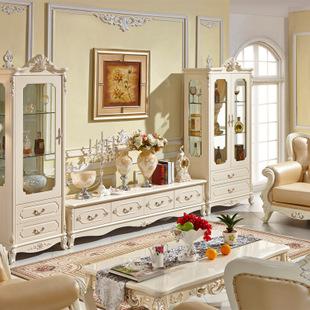 欧式客厅电视柜 白色实木面地柜矮柜组合图片