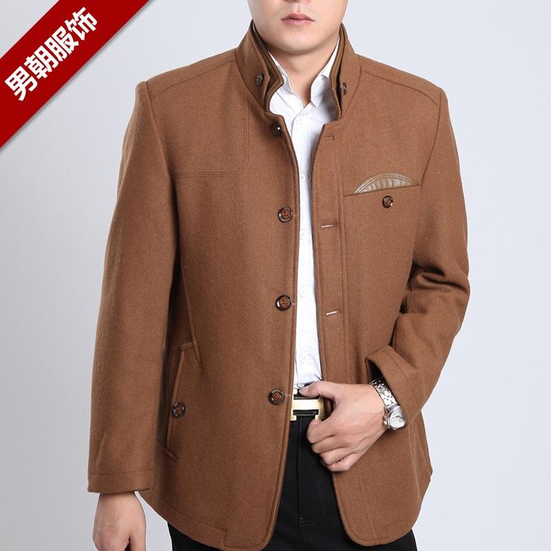 装中年男士立领夹克男修身羊毛呢子夹克休闲外套男-男朝男装加盟