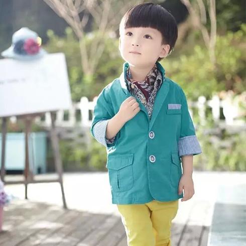 成长衣派童装-绿色韩版休闲衬衫