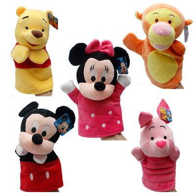 可爱米奇 米妮 跳跳虎史迪仔卡通儿童手偶宝宝早教 毛绒玩具批发