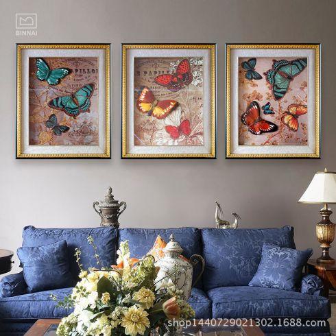 立体画蝴蝶花卉雕刻浮雕画现代3d装饰画组合型客厅缤