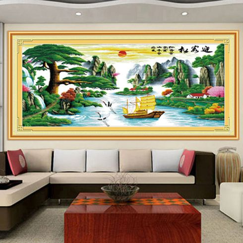 厂家特价十字绣客厅最新款迎客松财运版山水大幅2米版印花十字绣图片