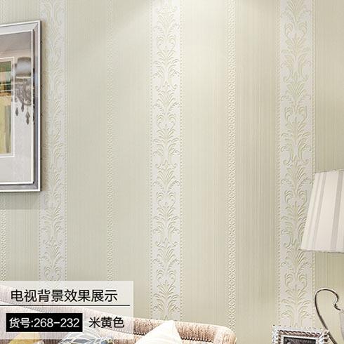 简欧式竖条纹 加厚3d立体客厅卧室满铺墙纸 素色简约无纺布墙壁纸