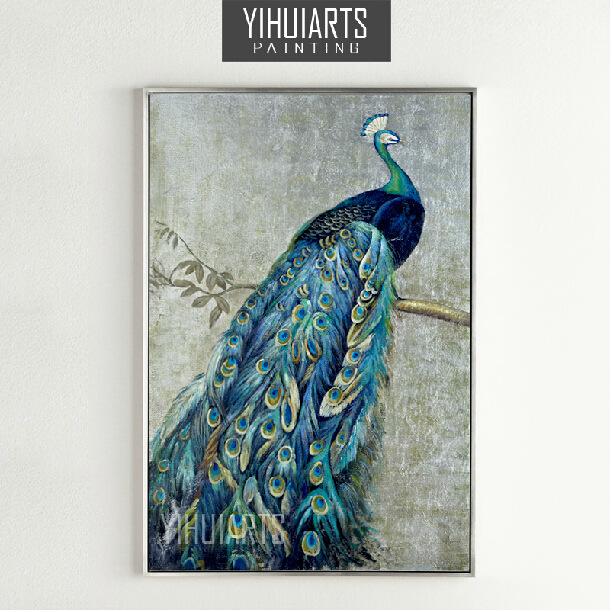 孔雀油画欧式手绘玄关装饰画大幅竖版挂画花鸟抽象画
