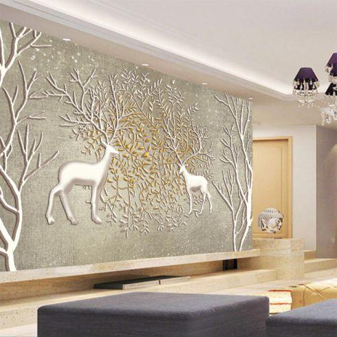 3d立体欧式客厅无纺布壁纸画 电视背景墙纸大型壁画无缝墙布 麋鹿