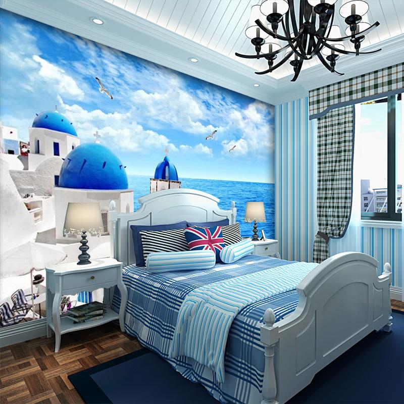 3d地中海墙纸壁画 卧室客厅沙发餐厅电视背景墙壁纸