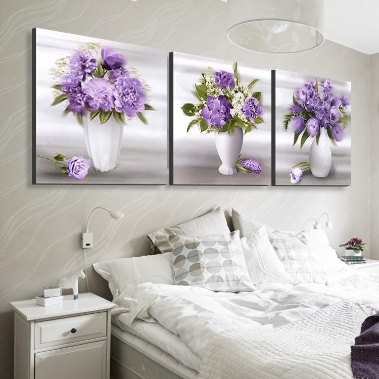 现代客厅时尚欧式无框装饰画简约壁画三联画餐厅花朵