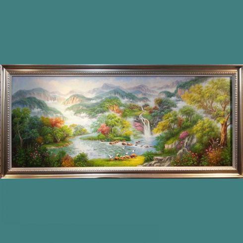 畫室直銷手繪古典山水風景樹油畫