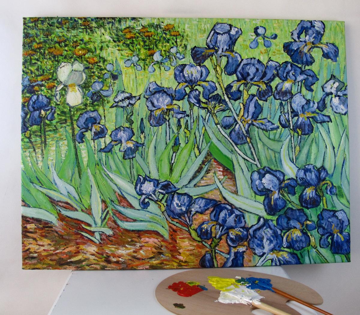 油画批发 世界名画定制临摹 文森特·梵高 鸢尾花