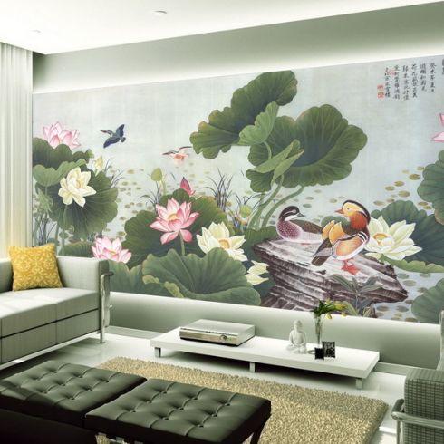 电视背景墙客厅卧室玄关绿色背景荷花鸳鸯戏水真丝布自粘壁画
