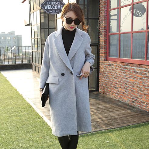 艾丽哲女装-韩版宽松长宽呢大衣