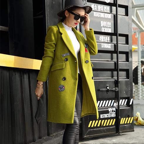 艾丽哲女装-韩版修身双排扣呢大衣