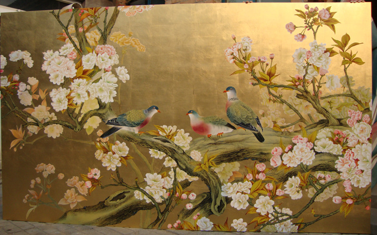 室内装饰背景墙(手绘金箔漆画)—工笔花鸟图