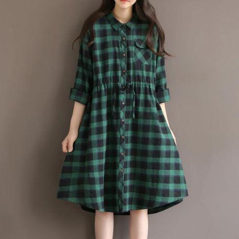 安妮森林2015秋冬文艺中长款宽松绿色格子棉麻连衣裙