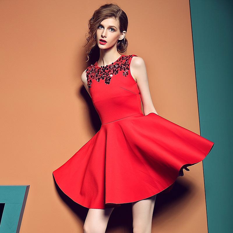 2015秋装欧美新品品牌女装 无袖亮片蓬蓬裙高腰红色连衣裙秋