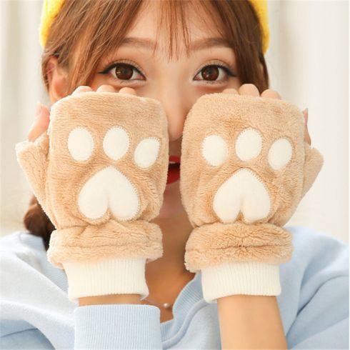 卡通猫爪手套男女秋冬季韩版可爱女生露指加厚保暖半