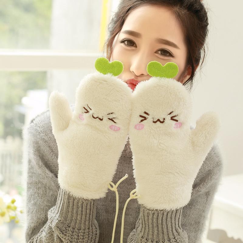 元旦礼品可爱卡通手套半指手套女冬季加绒保暖大手套
