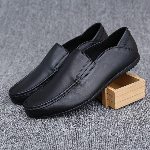 代理加盟 森达谱外贸男士休闲皮鞋一脚蹬豆豆鞋真皮驾车流行男鞋图片
