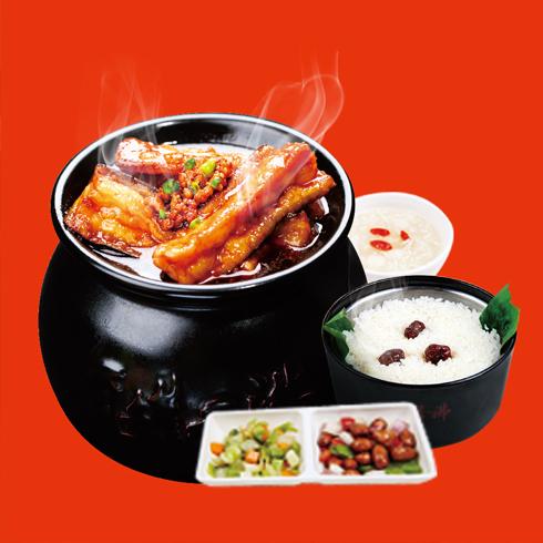 瓦罐香沸小吃快餐-风味茄子套餐