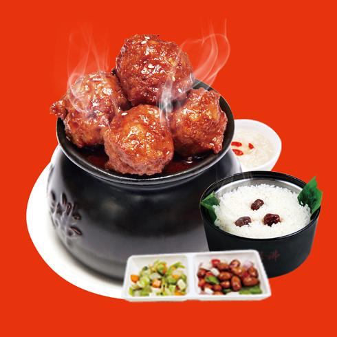 瓦罐香沸小吃快餐-红烧狮子头套餐