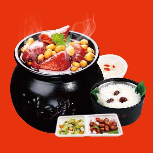 瓦罐香沸小吃快餐-黄豆猪手套餐