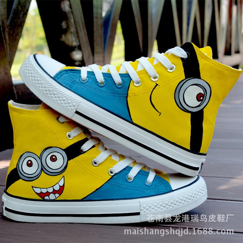小黄人秋款时尚高帮手绘女鞋涂鸦鞋休闲鞋平底帆布鞋