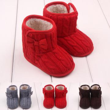 蝴蝶结针织毛线棉鞋