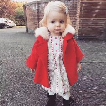 现货ins爆款中小童装 女童红色毛呢大衣狐狸毛领灯笼袖连帽大衣