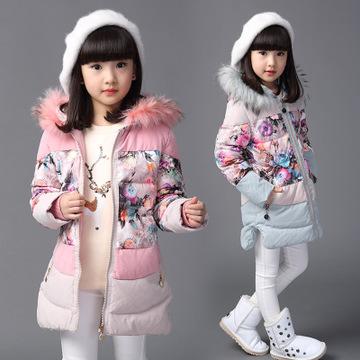 代发女童棉衣2015新款冬季装中长款棉服儿童韩版加厚