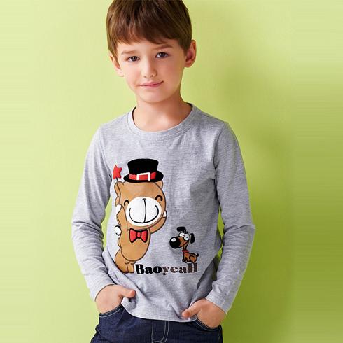 麦勒酷童装-白灰色T恤
