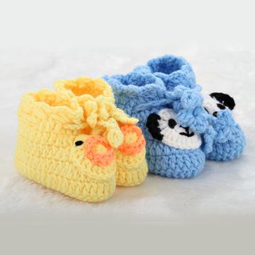 超柔软手工编织婴儿鞋 可爱卡通宝宝鞋 毛线软底婴儿单鞋 针织鞋