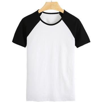 夏季新款插肩袖短袖t恤 空白纯棉半袖衫纯色烫画衣服现货批发