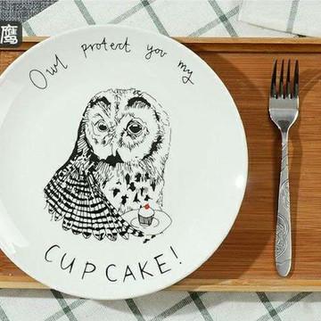 巴达餐具创意个性瓷盘牛排盘西餐盘 8寸 可爱 卡通动物盘 卡通 餐盘