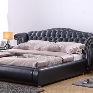 柏拉菲 欧式真皮床 现代软体双人婚床 进口头层牛皮软床 可定制