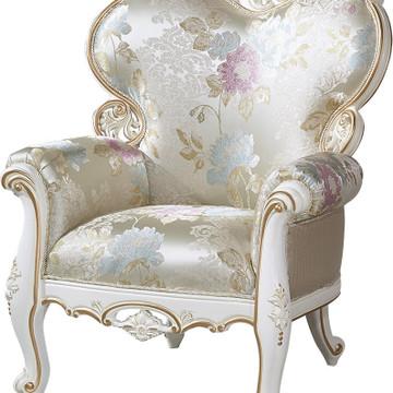 公馆桃花芯木实木休闲椅主人椅欧式法式布艺休闲椅