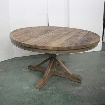rh家具 实木圆桌 复古做旧原木餐桌 酒吧餐厅实木家具 老木头图片