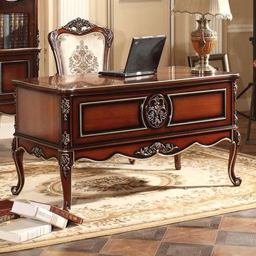 欧式套房家具 书桌电脑桌 珍珠白象牙白描金描银 深色描金