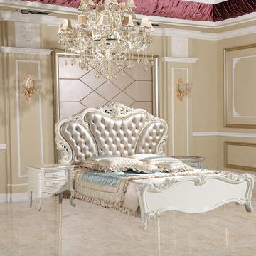 欧式套房家具 真皮双人床