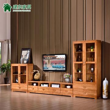 现代中式电视柜酒柜客厅实木电视机柜组合背景柜储物柜