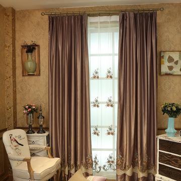 高档欧式刺绣花窗帘 飘窗卧室窗纱